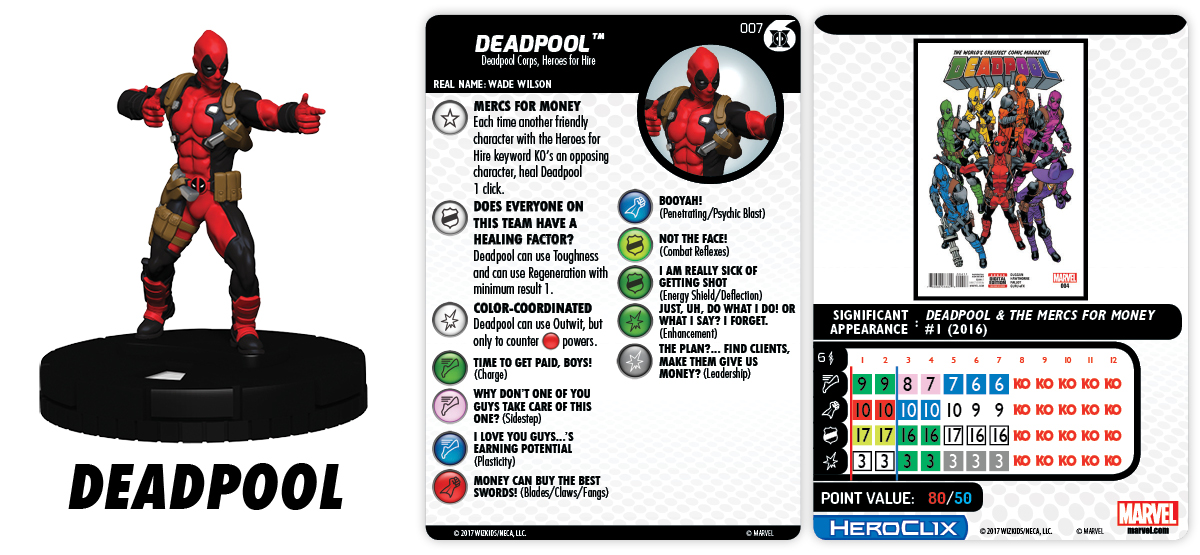 Marvel HeroClix: The Merc$ for Money Fast Forces - Deadpool