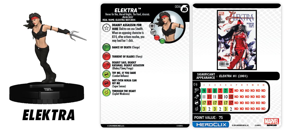 Marvel HeroClix: Marvel Knights Fast Forces Part 1 - Elektra
