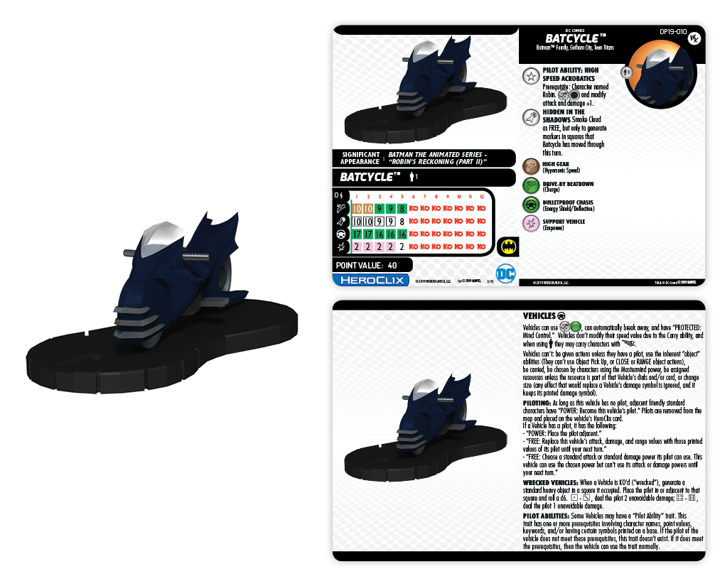 Convention Exclusive 2019 DC Comics HeroClix: Robin and Batcycle