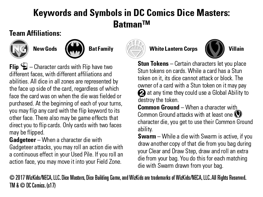 Dc comics dice masters batman dice masters rules insert buycottarizona Choice Image